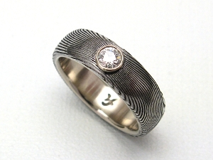 Stainless Damascus Steel With Sterling Silver and Diamond