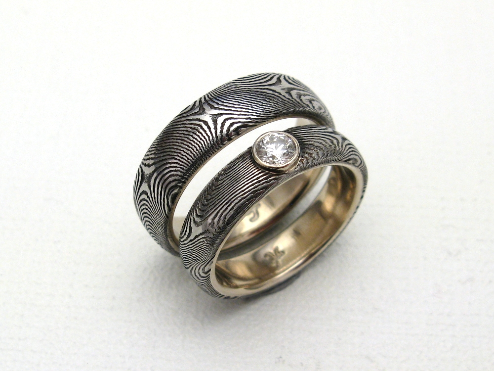14k white gold set star twist with diamond - Damascus Wedding Ring