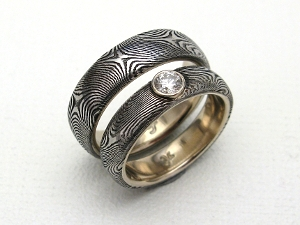 Stainless Damascus Steel Rings With 18K White Gold and Diamond