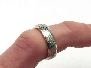 Stainless Damascus Steel Ring With 14K Gold Rails