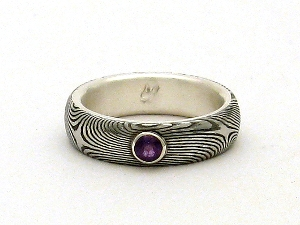 Stainless Damascus Steel Ring With Sterlin Silver and Amethyst