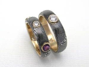 Damascus Rings with Diamonds & Amethyst lined in 14K Gold