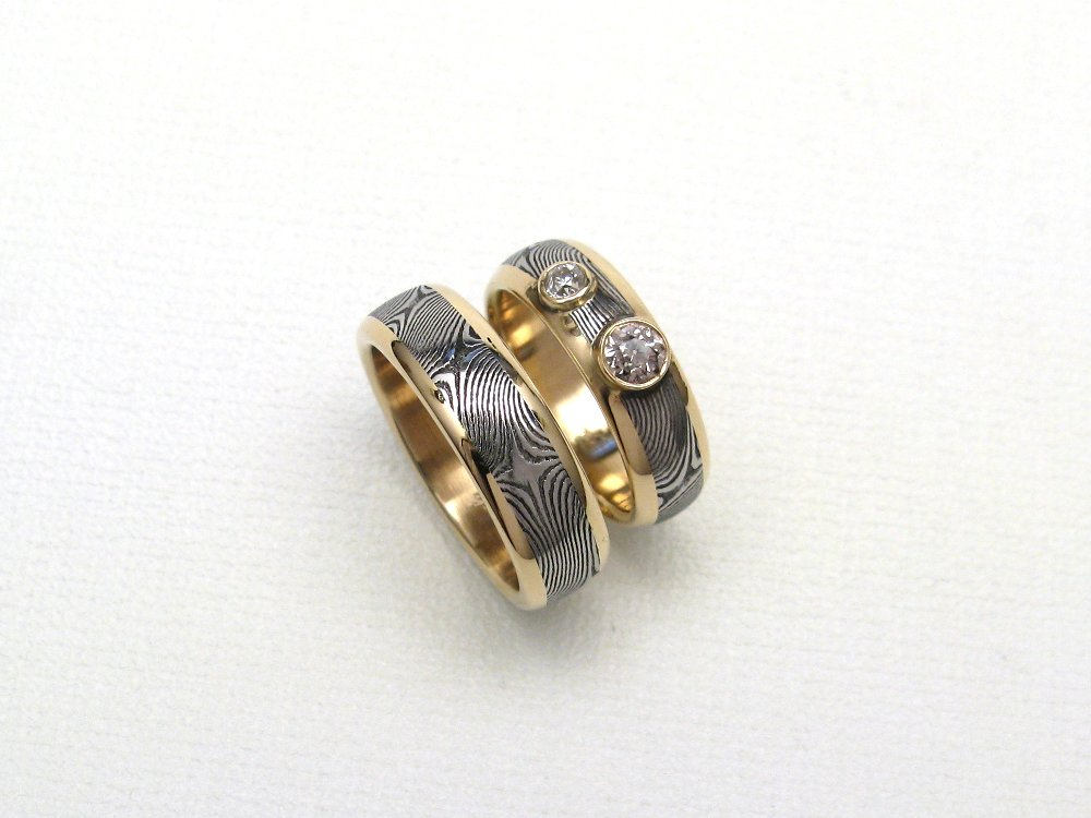Custom Wedding Band Set With Heirloom Diamonds Gold