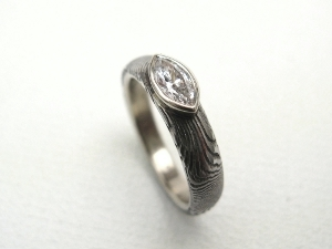Marquise Diamond Damascus Engagement Ring in 14K White Gold