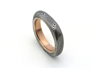 Stainless Damascus Ring with Red Gold and Square Profile