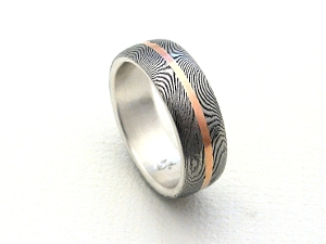 Stainless Damascus Ring with Red Gold and Inlay