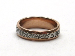 Stainless Damascus Steel Ring With 14K Rose Gold and Tapered Shank