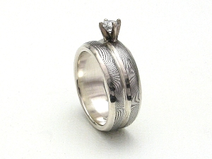 Stainless Damascus Steel Rings With Sterling Silver and Diamond