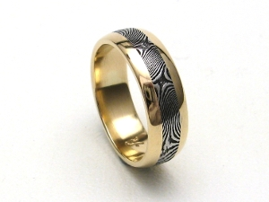 handmade stainless damascus ring 18k gold rails by jarthur loose - Firefighter Wedding Rings